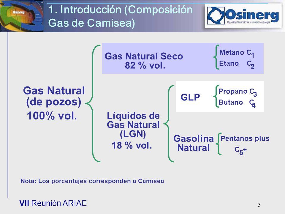 VII Reunión ARIAE 3 1. Introducción (Composición Gas de Camisea) Líquidos de Gas Natural (LGN) Gas Natural Seco Gas Natural (de pozos) 100% vol. 82 %