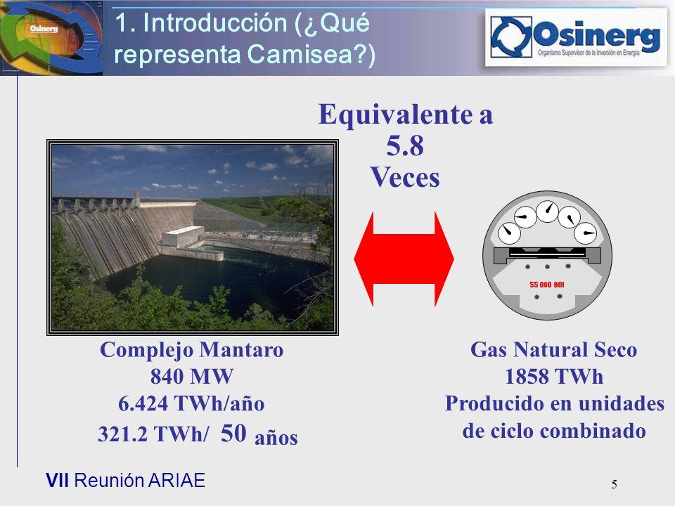VII Reunión ARIAE 5 1. Introducción (¿Qué representa Camisea?) Complejo Mantaro 840 MW 6.424 TWh/año 321.2 TWh/ 50 años Gas Natural Seco 1858 TWh Prod