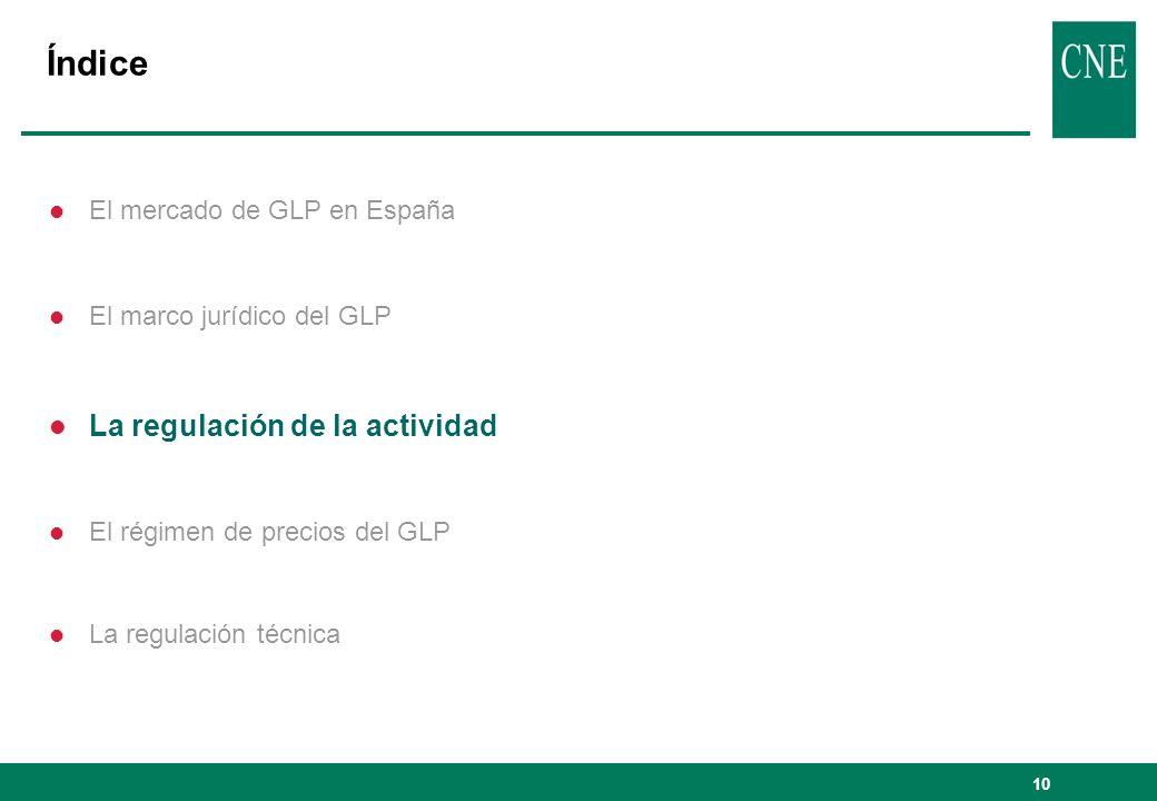 10 Índice l El mercado de GLP en España l El marco jurídico del GLP l La regulación de la actividad l El régimen de precios del GLP l La regulación té