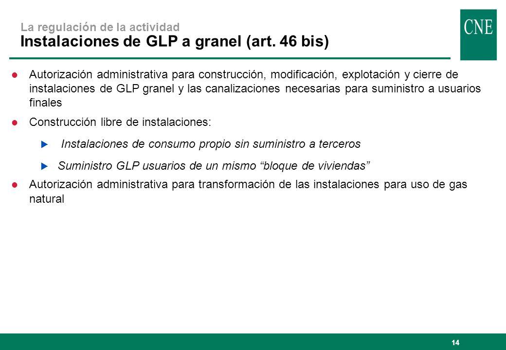14 La regulación de la actividad Instalaciones de GLP a granel (art. 46 bis) l Autorización administrativa para construcción, modificación, explotació