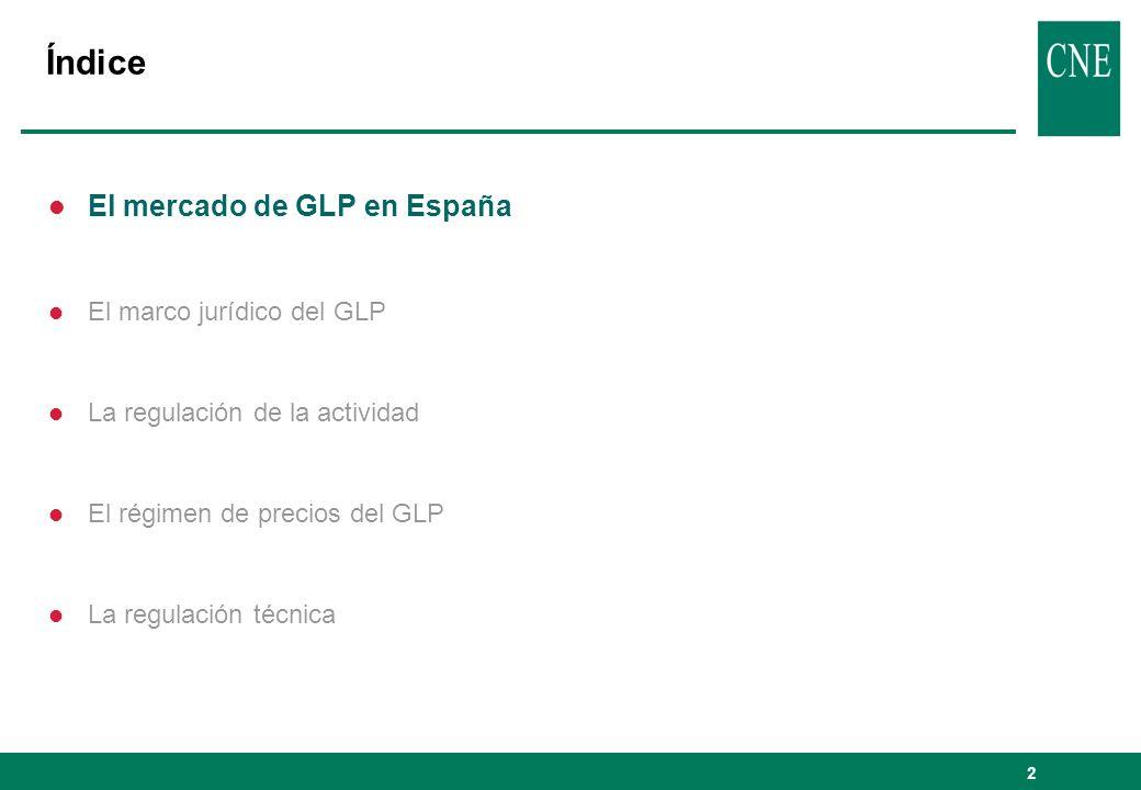 2 Índice l El mercado de GLP en España l El marco jurídico del GLP l La regulación de la actividad l El régimen de precios del GLP l La regulación téc
