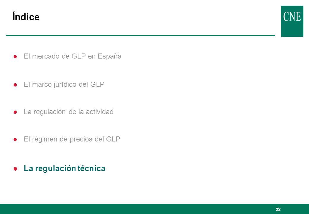 22 Índice l El mercado de GLP en España l El marco jurídico del GLP l La regulación de la actividad l El régimen de precios del GLP l La regulación té