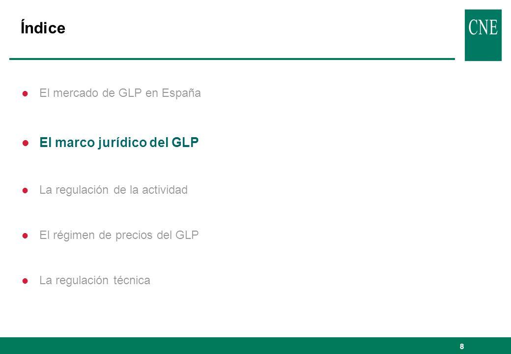 8 Índice l El mercado de GLP en España l El marco jurídico del GLP l La regulación de la actividad l El régimen de precios del GLP l La regulación téc