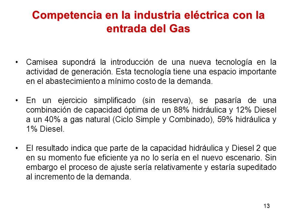 13 Competencia en la industria eléctrica con la entrada del Gas Camisea supondrá la introducción de una nueva tecnología en la actividad de generación