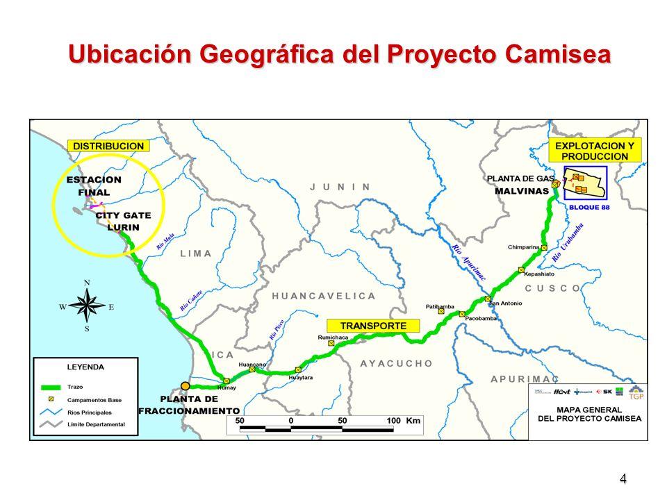 5 El Proyecto de Camisea: Efecto en la Matriz Energética Producción de Energía Primaria: 551,776 Tera Joules (equivalentes a 95 millones de barriles de petróleo).