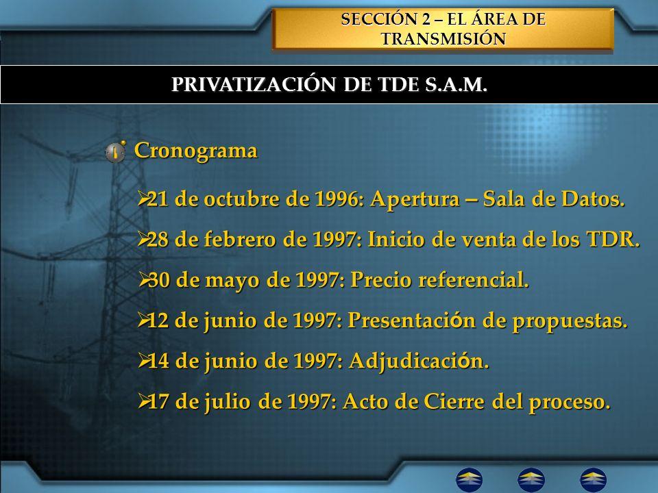 PRIVATIZACIÓN DE TDE S.A.M. SECCIÓN 2 – EL ÁREA DE TRANSMISIÓN Cronograma 21 de octubre de 1996: Apertura – Sala de Datos. 21 de octubre de 1996: Aper