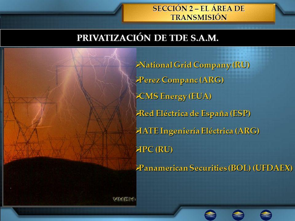 PRIVATIZACIÓN DE TDE S.A.M. SECCIÓN 2 – EL ÁREA DE TRANSMISIÓN National Grid Company (RU) National Grid Company (RU) Perez Companc (ARG) Perez Companc
