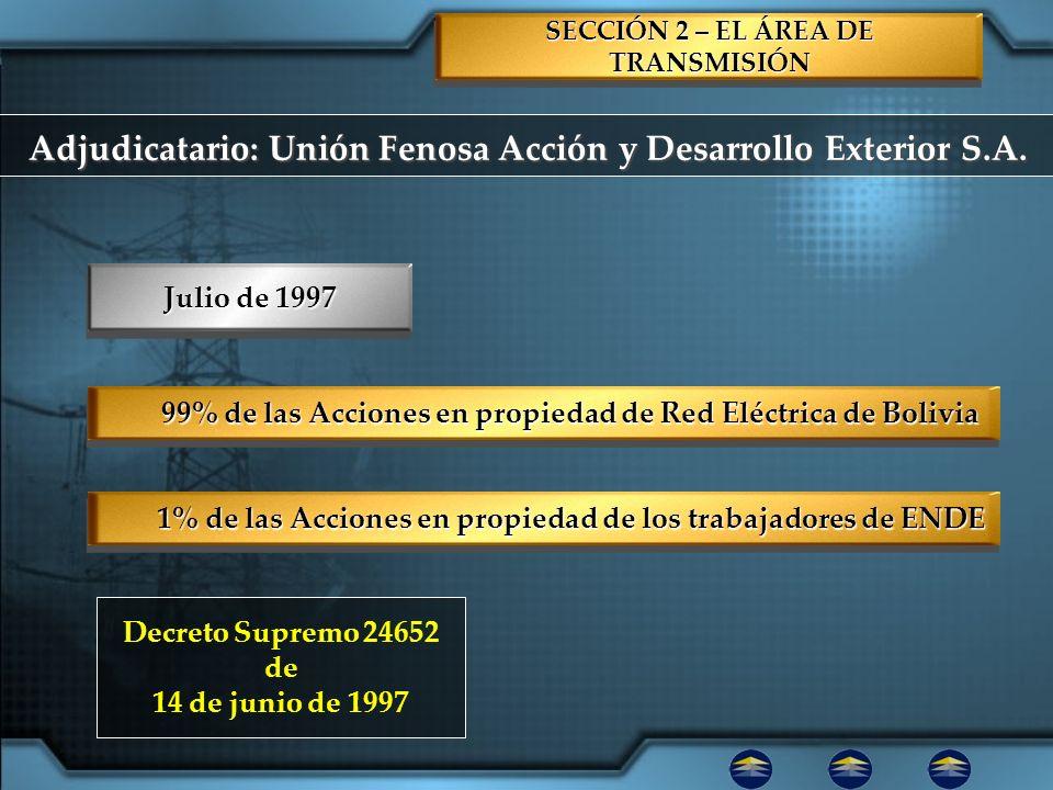 SECCIÓN 2 – EL ÁREA DE TRANSMISIÓN 99% de las Acciones en propiedad de Red Eléctrica de Bolivia 1% de las Acciones en propiedad de los trabajadores de