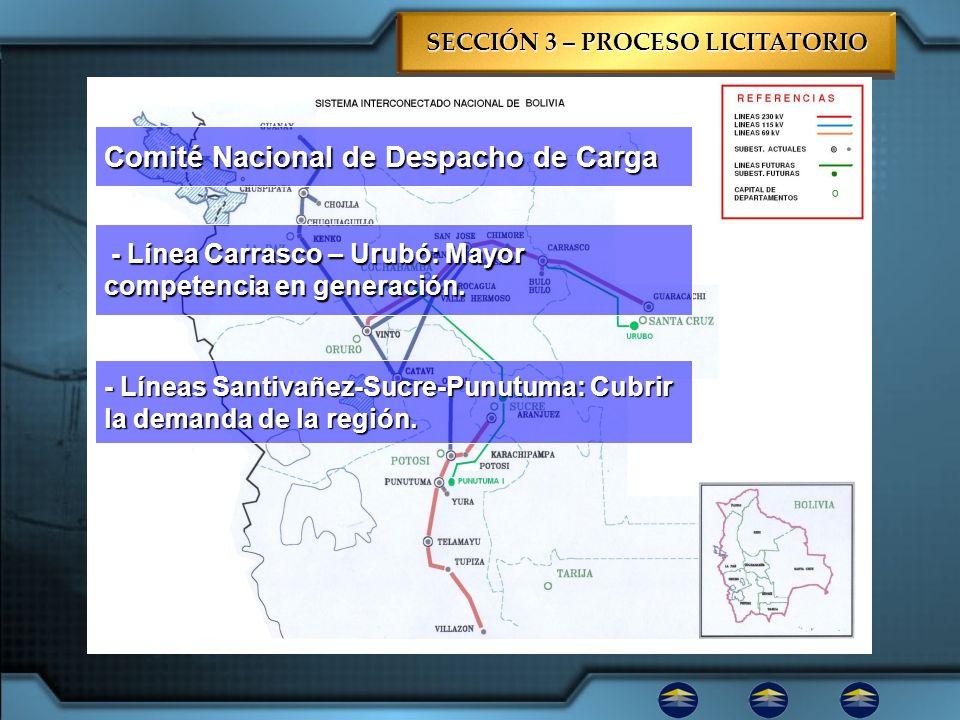 SECCIÓN 3 – PROCESO LICITATORIO Mapa de Ubicación Comité Nacional de Despacho de Carga - Línea Carrasco – Urubó: Mayor competencia en generación. - Lí
