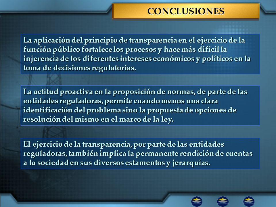 CONCLUSIONESCONCLUSIONES La aplicación del principio de transparencia en el ejercicio de la función público fortalece los procesos y hace más difícil