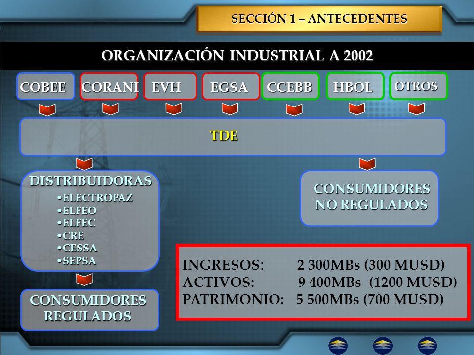 ORGANIZACIÓN INDUSTRIAL A 2002 DISTRIBUIDORAS CONSUMIDORES NO REGULADOS COBEE ELECTROPAZELECTROPAZ ELFEOELFEO ELFECELFEC CRECRE CESSACESSA SEPSASEPSA