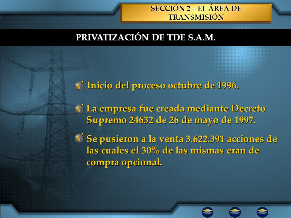 PRIVATIZACIÓN DE TDE S.A.M. Inicio del proceso octubre de 1996. La empresa fue creada mediante Decreto Supremo 24632 de 26 de mayo de 1997. Se pusiero