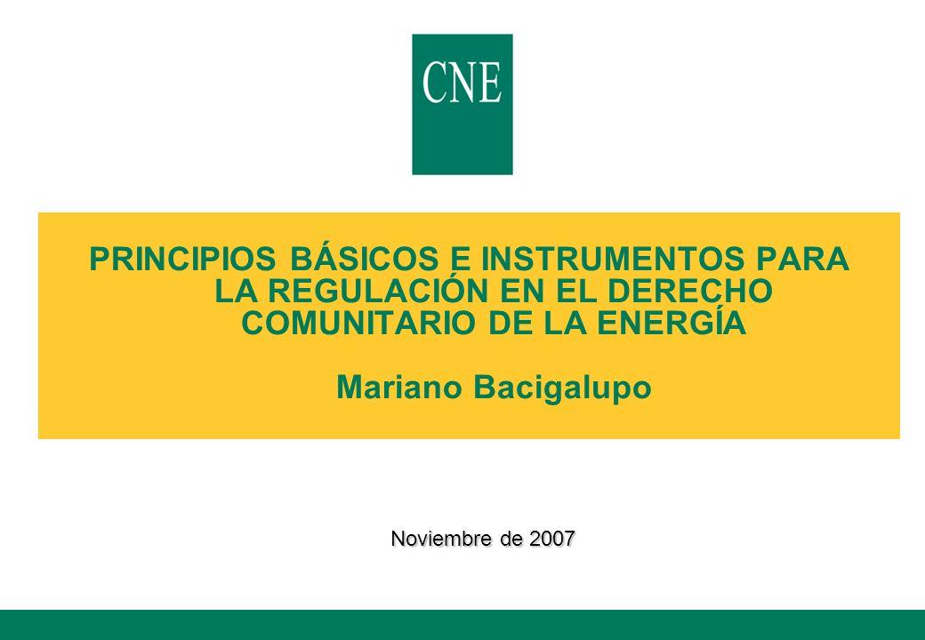 PRINCIPIOS BÁSICOS E INSTRUMENTOS PARA LA REGULACIÓN EN EL DERECHO COMUNITARIO DE LA ENERGÍA Mariano Bacigalupo Noviembre de 2007
