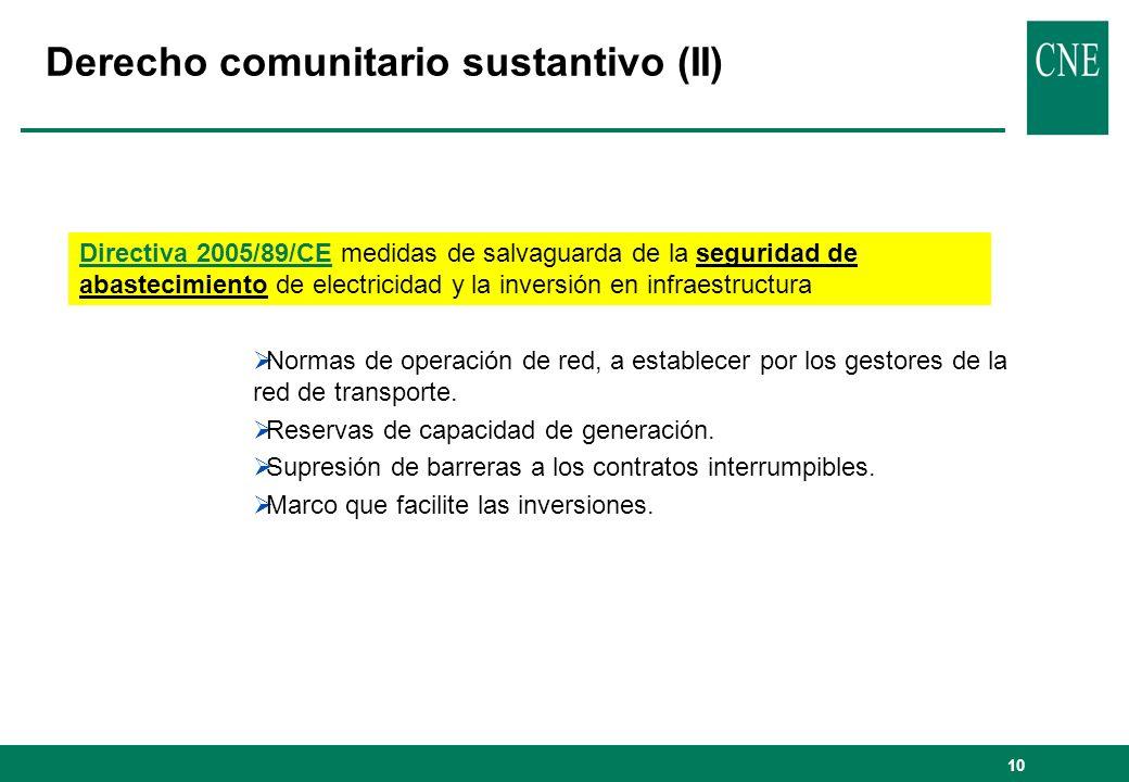 10 Derecho comunitario sustantivo (II) Directiva 2005/89/CE medidas de salvaguarda de la seguridad de abastecimiento de electricidad y la inversión en infraestructura Normas de operación de red, a establecer por los gestores de la red de transporte.