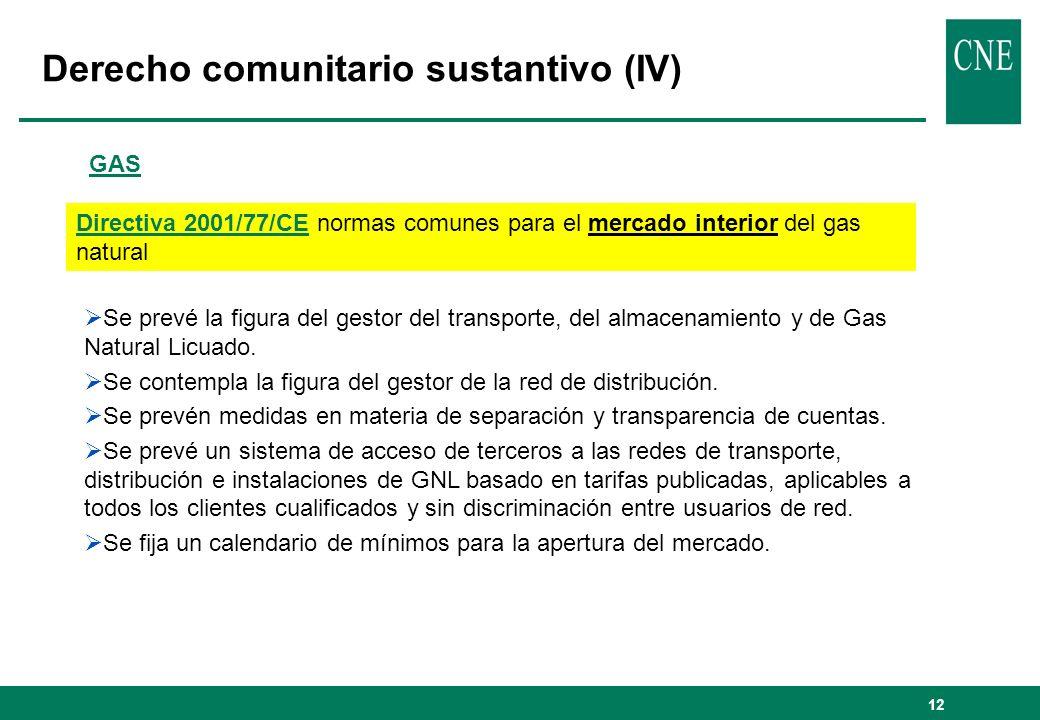 12 Derecho comunitario sustantivo (IV) GAS Directiva 2001/77/CE normas comunes para el mercado interior del gas natural Se prevé la figura del gestor del transporte, del almacenamiento y de Gas Natural Licuado.