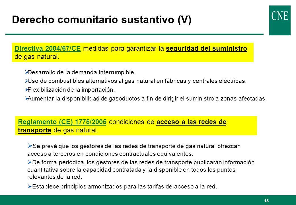 13 Derecho comunitario sustantivo (V) Directiva 2004/67/CE medidas para garantizar la seguridad del suministro de gas natural.