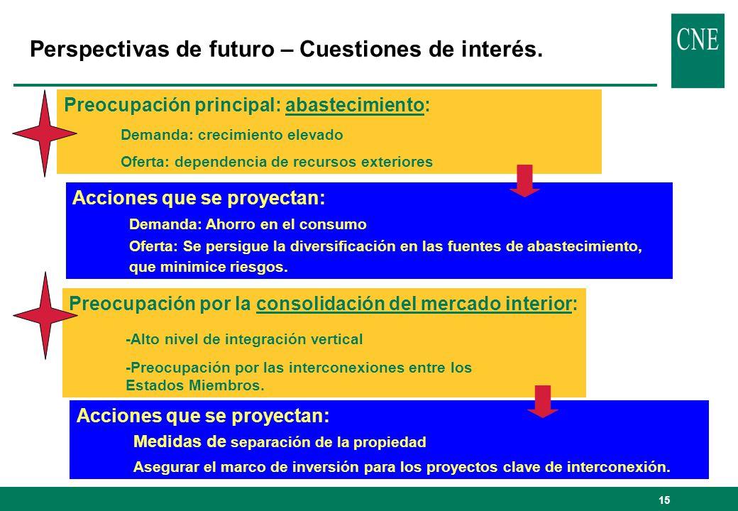15 Perspectivas de futuro – Cuestiones de interés.