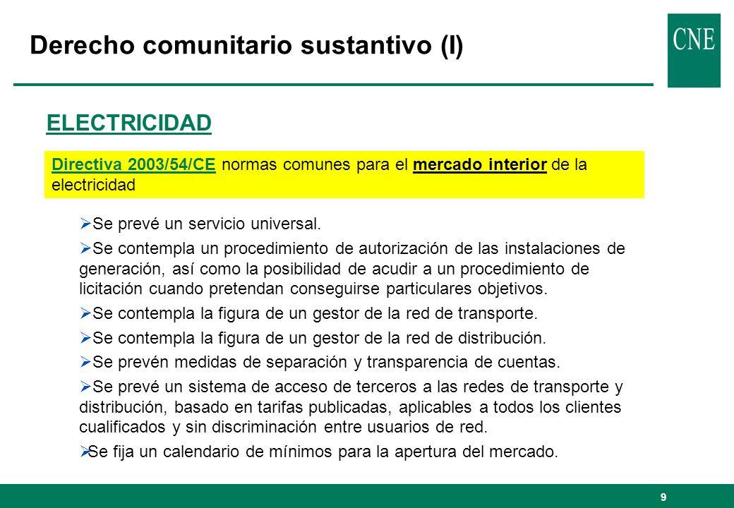 9 Derecho comunitario sustantivo (I) Directiva 2003/54/CE normas comunes para el mercado interior de la electricidad ELECTRICIDAD Se prevé un servicio universal.