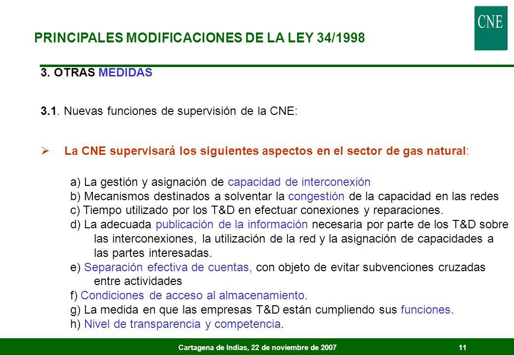 Cartagena de Indias, 22 de noviembre de 200711 3. OTRAS MEDIDAS 3.1. Nuevas funciones de supervisión de la CNE: La CNE supervisará los siguientes aspe