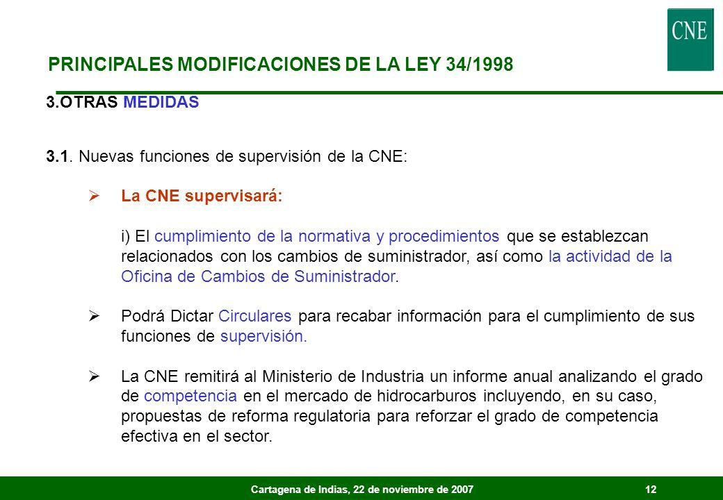 Cartagena de Indias, 22 de noviembre de 200712 3.OTRAS MEDIDAS 3.1. Nuevas funciones de supervisión de la CNE: La CNE supervisará: i) El cumplimiento