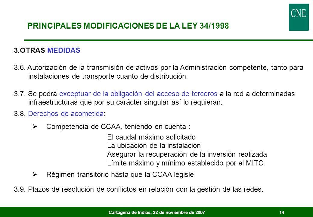 Cartagena de Indias, 22 de noviembre de 200714 3.OTRAS MEDIDAS 3.6. Autorización de la transmisión de activos por la Administración competente, tanto