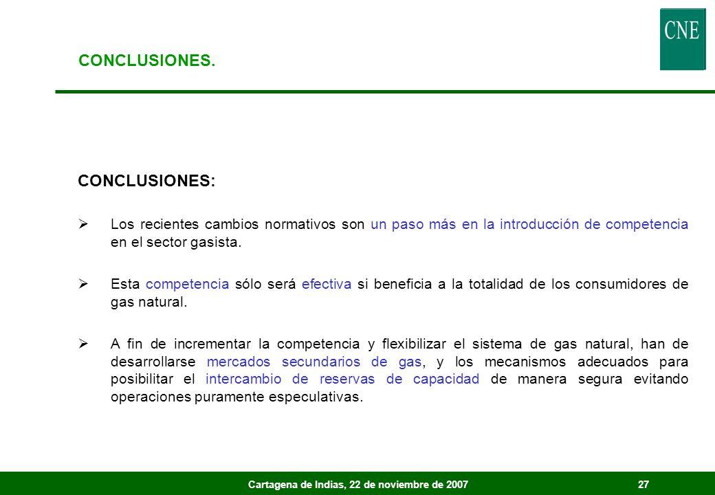 Cartagena de Indias, 22 de noviembre de 200727 CONCLUSIONES: Los recientes cambios normativos son un paso más en la introducción de competencia en el sector gasista.