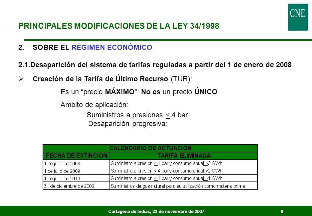 Cartagena de Indias, 22 de noviembre de 20078 2.SOBRE EL RÉGIMEN ECONÓMICO 2.1.Desaparición del sistema de tarifas reguladas a partir del 1 de enero de 2008 Creación de la Tarifa de Último Recurso (TUR): Es un precio MÁXIMO: No es un precio ÚNICO Ámbito de aplicación: Suministros a presiones < 4 bar Desaparición progresiva: PRINCIPALES MODIFICACIONES DE LA LEY 34/1998