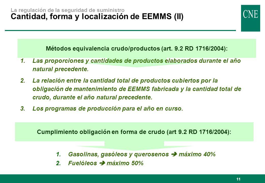 11 Cumplimiento obligación en forma de crudo (art 9.2 RD 1716/2004): Métodos equivalencia crudo/productos (art. 9.2 RD 1716/2004): 1.Las proporciones