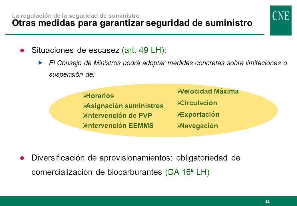 14 La regulación de la seguridad de suministro Otras medidas para garantizar seguridad de suministro Horarios Asignación suministros Intervención de PVP Intervención EEMMS Velocidad Máxima Circulación Exportación Navegación Situaciones de escasez (art.