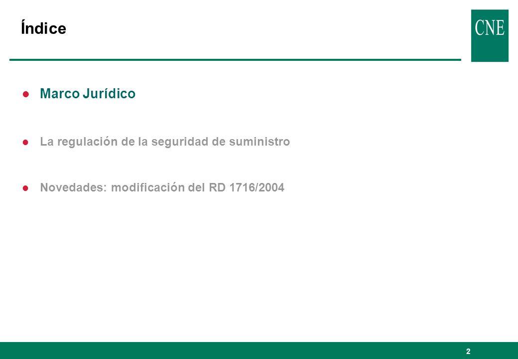 2 Índice l Marco Jurídico l La regulación de la seguridad de suministro l Novedades: modificación del RD 1716/2004