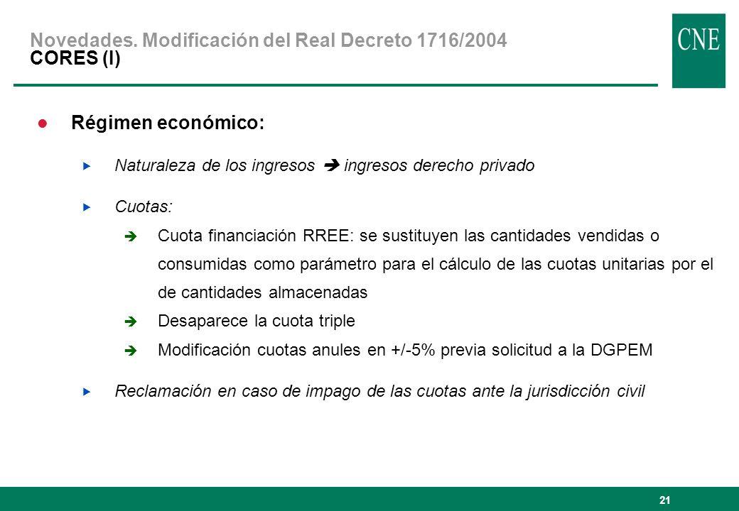 21 Régimen económico: Naturaleza de los ingresos ingresos derecho privado Cuotas: Cuota financiación RREE: se sustituyen las cantidades vendidas o con