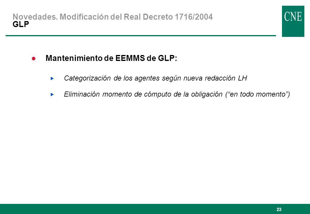 23 Mantenimiento de EEMMS de GLP: Categorización de los agentes según nueva redacción LH Eliminación momento de cómputo de la obligación (en todo momento) Novedades.