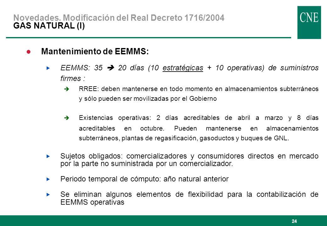24 Mantenimiento de EEMMS: EEMMS: 35 20 días (10 estratégicas + 10 operativas) de suministros firmes : RREE: deben mantenerse en todo momento en almac