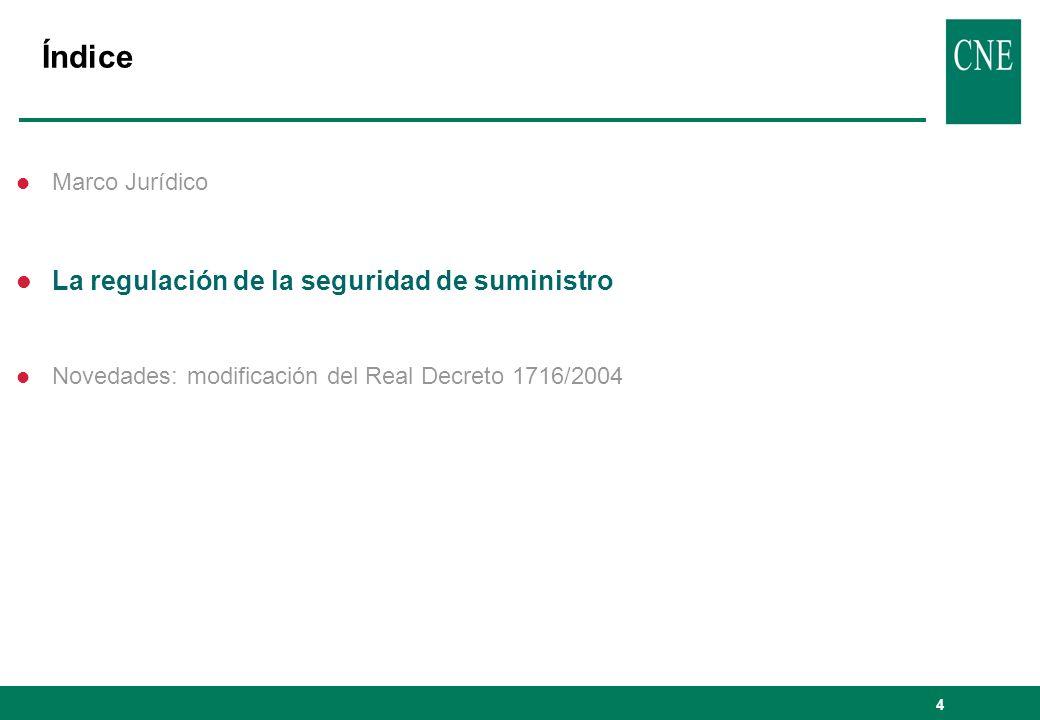 4 Índice l Marco Jurídico l La regulación de la seguridad de suministro l Novedades: modificación del Real Decreto 1716/2004