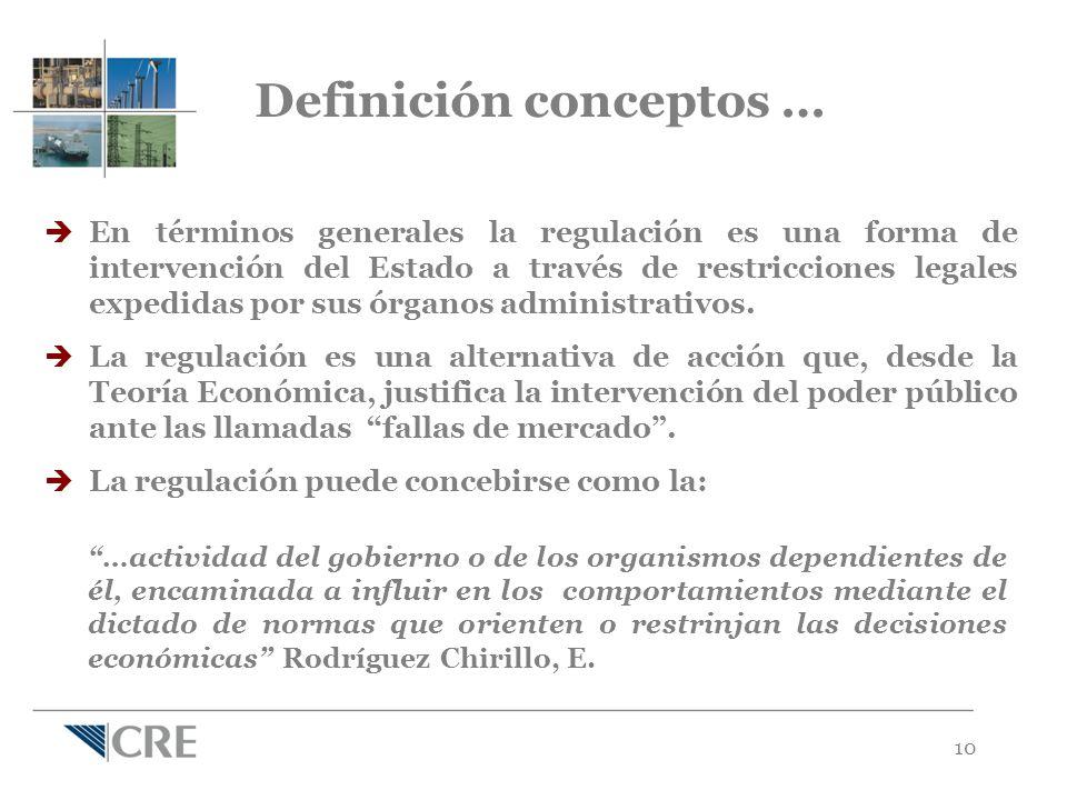 10 En términos generales la regulación es una forma de intervención del Estado a través de restricciones legales expedidas por sus órganos administrativos.