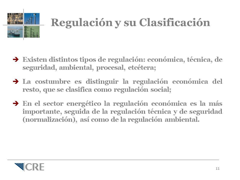 11 Regulación y su Clasificación Existen distintos tipos de regulación: económica, técnica, de seguridad, ambiental, procesal, etcétera; La costumbre es distinguir la regulación económica del resto, que se clasifica como regulación social; En el sector energético la regulación económica es la más importante, seguida de la regulación técnica y de seguridad (normalización), así como de la regulación ambiental.