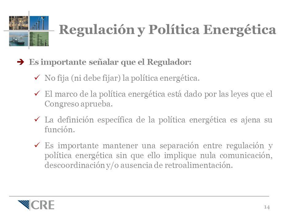 14 Regulación y Política Energética Es importante señalar que el Regulador: No fija (ni debe fijar) la política energética.