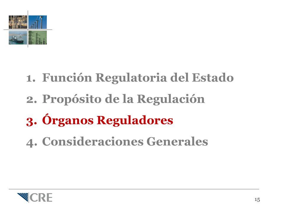 15 1.Función Regulatoria del Estado 2.Propósito de la Regulación 3.Órganos Reguladores 4.Consideraciones Generales