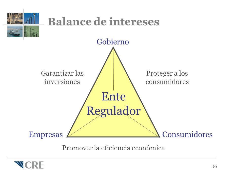 16 Garantizar las inversiones Proteger a los consumidores Promover la eficiencia económica Ente Regulador Gobierno ConsumidoresEmpresas Balance de intereses