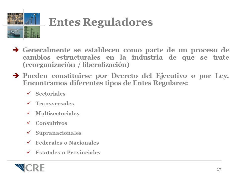 17 Generalmente se establecen como parte de un proceso de cambios estructurales en la industria de que se trate (reorganización / liberalización) Pueden constituirse por Decreto del Ejecutivo o por Ley.