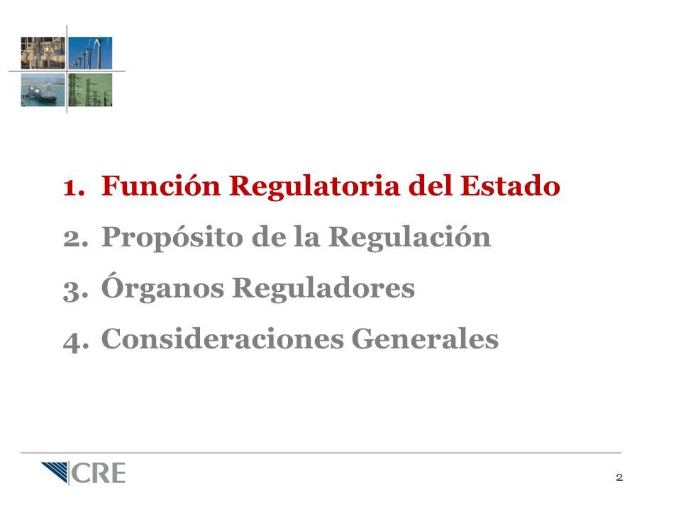 22 1.Función Regulatoria del Estado 2.Propósito de la Regulación 3.Órganos Reguladores 4.Consideraciones Generales
