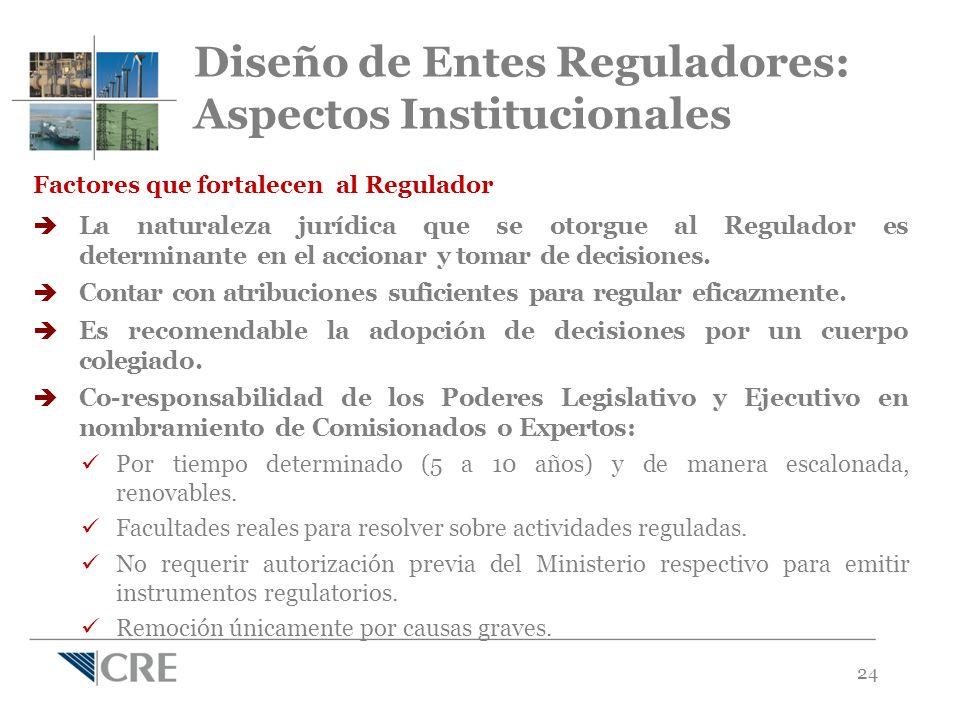 24 Factores que fortalecen al Regulador La naturaleza jurídica que se otorgue al Regulador es determinante en el accionar y tomar de decisiones.