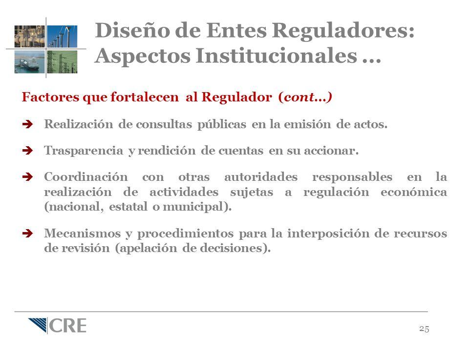 25 Factores que fortalecen al Regulador (cont…) Realización de consultas públicas en la emisión de actos.
