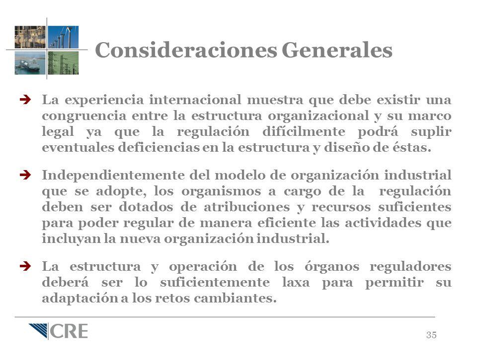Consideraciones Generales La experiencia internacional muestra que debe existir una congruencia entre la estructura organizacional y su marco legal ya que la regulación difícilmente podrá suplir eventuales deficiencias en la estructura y diseño de éstas.