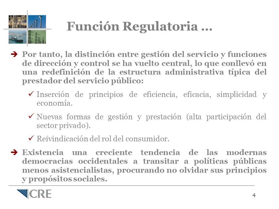 4 Por tanto, la distinción entre gestión del servicio y funciones de dirección y control se ha vuelto central, lo que conllevó en una redefinición de la estructura administrativa típica del prestador del servicio público: Inserción de principios de eficiencia, eficacia, simplicidad y economía.