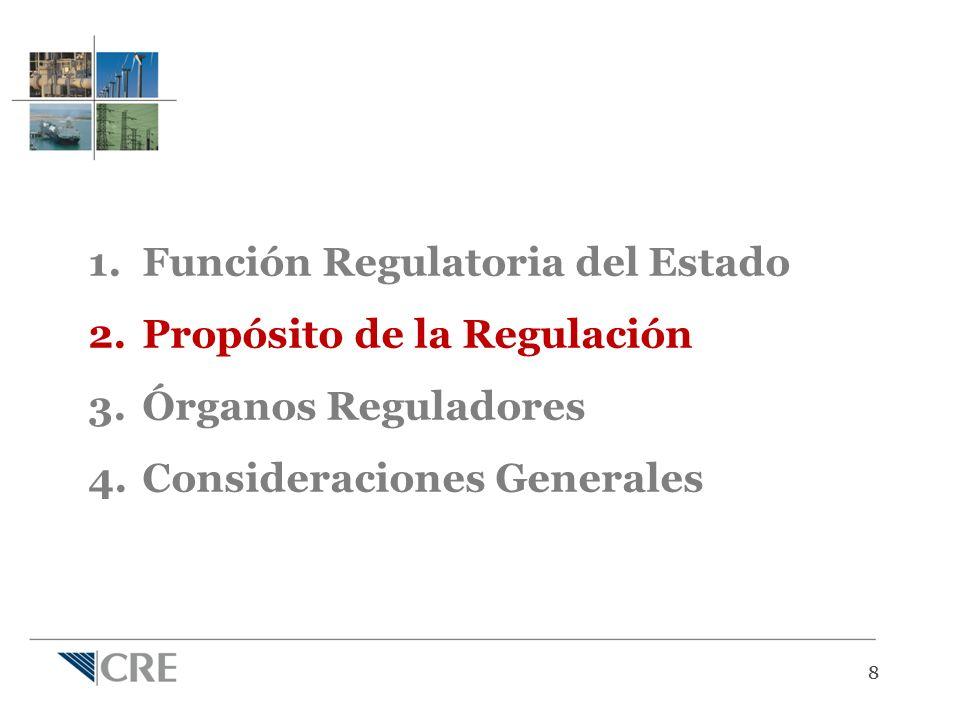 88 1.Función Regulatoria del Estado 2.Propósito de la Regulación 3.Órganos Reguladores 4.Consideraciones Generales