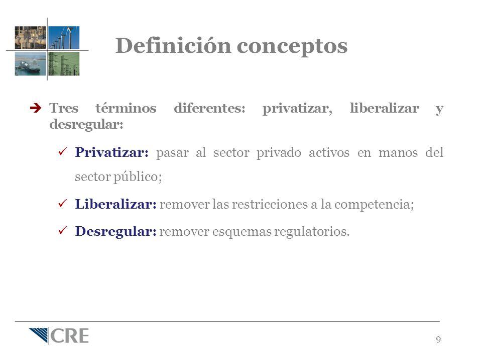 9 Definición conceptos Tres términos diferentes: privatizar, liberalizar y desregular: Privatizar: pasar al sector privado activos en manos del sector público; Liberalizar: remover las restricciones a la competencia; Desregular: remover esquemas regulatorios.