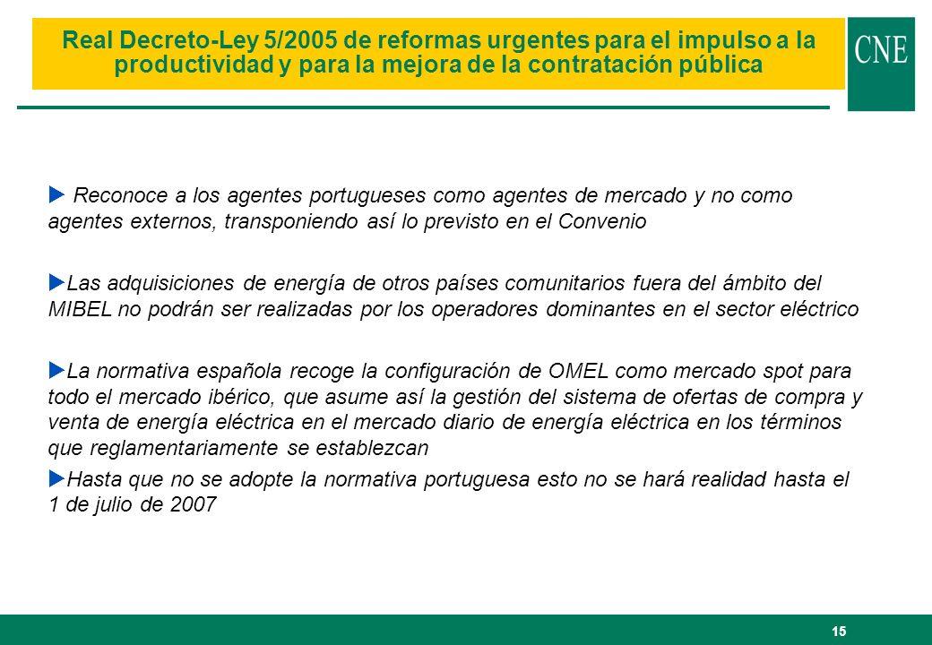 15 Real Decreto-Ley 5/2005 de reformas urgentes para el impulso a la productividad y para la mejora de la contratación pública Reconoce a los agentes