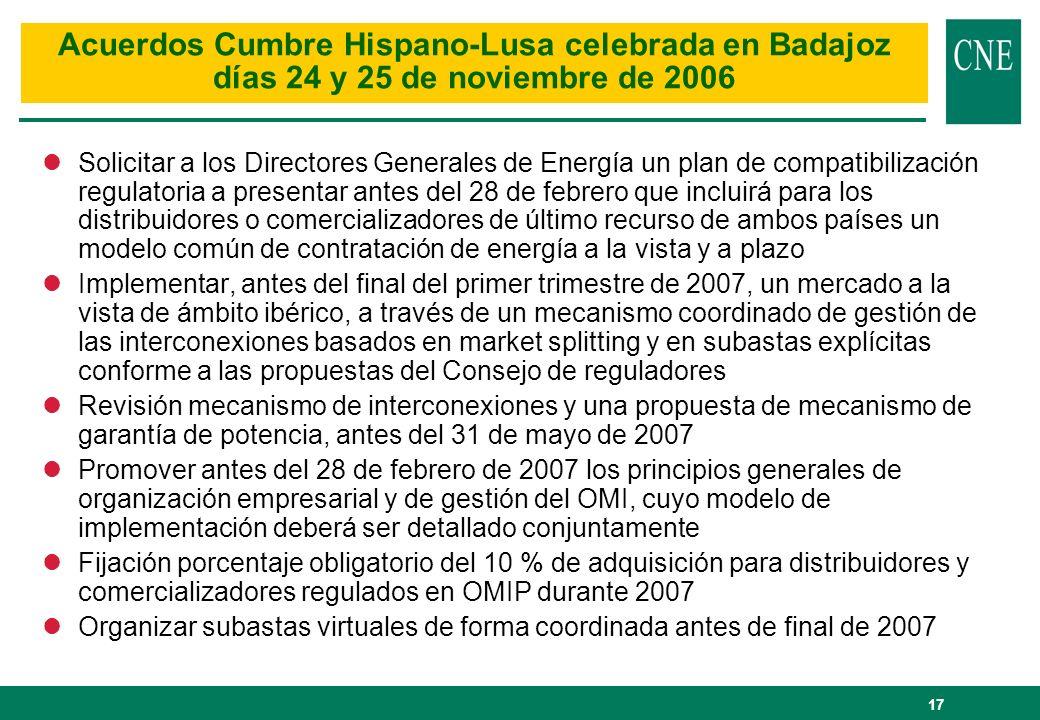 17 lSolicitar a los Directores Generales de Energía un plan de compatibilización regulatoria a presentar antes del 28 de febrero que incluirá para los