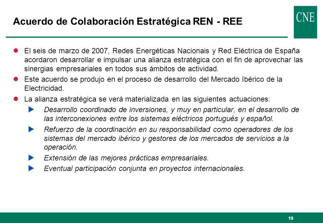 19 Acuerdo de Colaboración Estratégica REN - REE lEl seis de marzo de 2007, Redes Energéticas Nacionais y Red Eléctrica de España acordaron desarrolla
